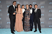 Writer/producer Sam Esmail and actors Carly Chaikin Rami Malek Portia Doubleday producer Chad Hamilton and actor Christian Slater winners of Best...