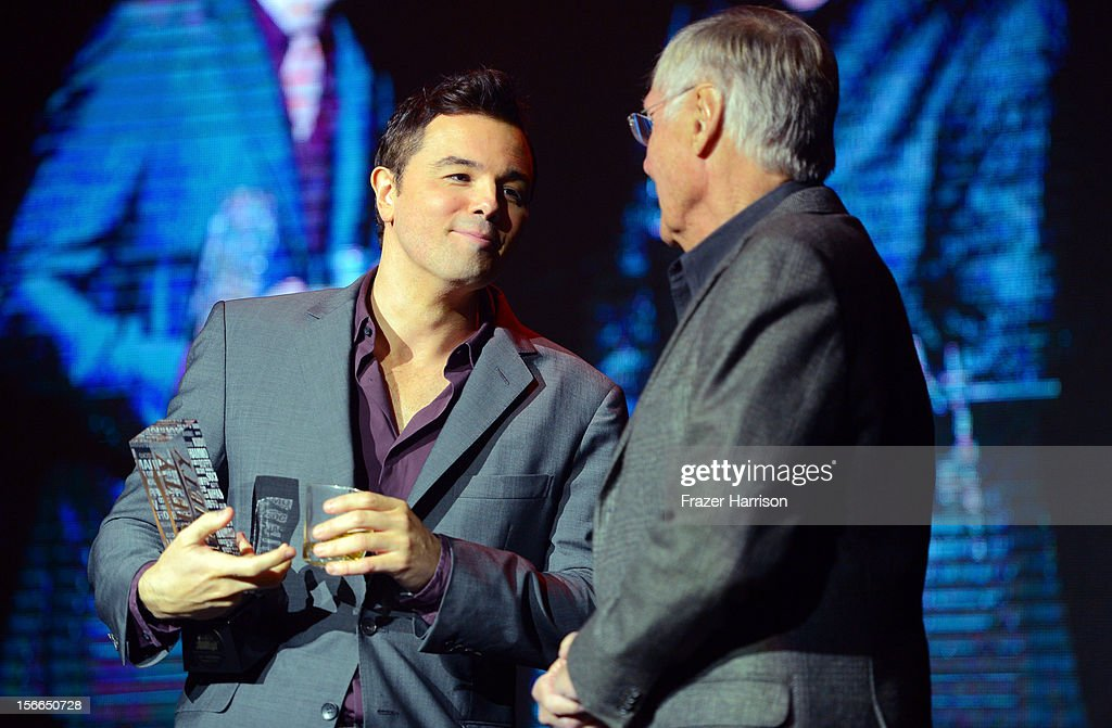 Writer/producer Seth MacFarlane (L) and Actor Adam West onstage at Variety's 3rd annual Power of Comedy event presented by Bing benefiting the Noreen Fraser Foundation held at Avalon on November 17, 2012 in Hollywood, California.