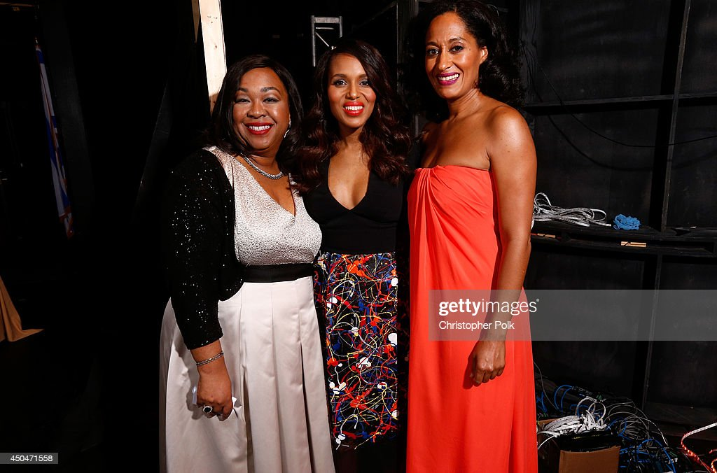 Writer/producer <a gi-track='captionPersonalityLinkClicked' href=/galleries/search?phrase=Shonda+Rhimes&family=editorial&specificpeople=572007 ng-click='$event.stopPropagation()'>Shonda Rhimes</a>, actress <a gi-track='captionPersonalityLinkClicked' href=/galleries/search?phrase=Kerry+Washington&family=editorial&specificpeople=201534 ng-click='$event.stopPropagation()'>Kerry Washington</a>, recipient of the Lucy Award for Excellence in Television recipient, and host <a gi-track='captionPersonalityLinkClicked' href=/galleries/search?phrase=Tracee+Ellis+Ross&family=editorial&specificpeople=211601 ng-click='$event.stopPropagation()'>Tracee Ellis Ross</a> attend Women In Film 2014 Crystal + Lucy Awards presented by MaxMara, BMW, Perrier-Jouet and South Coast Plaza held at the Hyatt Regency Century Plaza on June 11, 2014 in Los Angeles, California.