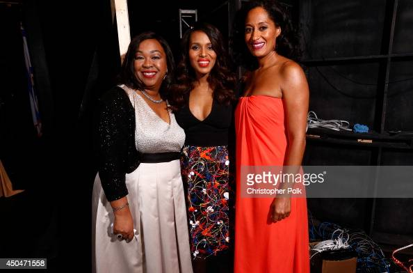 Writer/producer Shonda Rhimes actress Kerry Washington recipient of the Lucy Award for Excellence in Television recipient and host Tracee Ellis Ross...