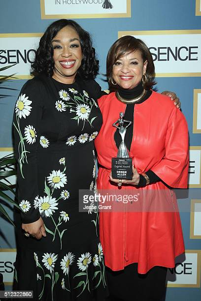 Writer/producer Shonda Rhimes and honoree Debbie Allen pose with an award during the 2016 ESSENCE Black Women In Hollywood awards luncheon at the...