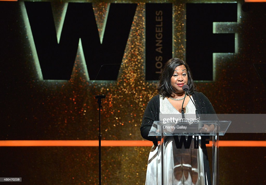 Writer/producer <a gi-track='captionPersonalityLinkClicked' href=/galleries/search?phrase=Shonda+Rhimes&family=editorial&specificpeople=572007 ng-click='$event.stopPropagation()'>Shonda Rhimes</a> speaks onstage at Women In Film 2014 Crystal + Lucy Awards presented by MaxMara, BMW, Perrier-Jouet and South Coast Plaza held at the Hyatt Regency Century Plaza on June 11, 2014 in Los Angeles, California.