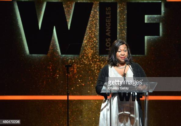 Writer/producer Shonda Rhimes speaks onstage at Women In Film 2014 Crystal Lucy Awards presented by MaxMara BMW PerrierJouet and South Coast Plaza...