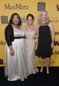 Writer/producer Shonda Rhimes Women In Film President Cathy Schulman and Producer Betsy Beers attend Women In Film 2014 Crystal Lucy Awards presented...