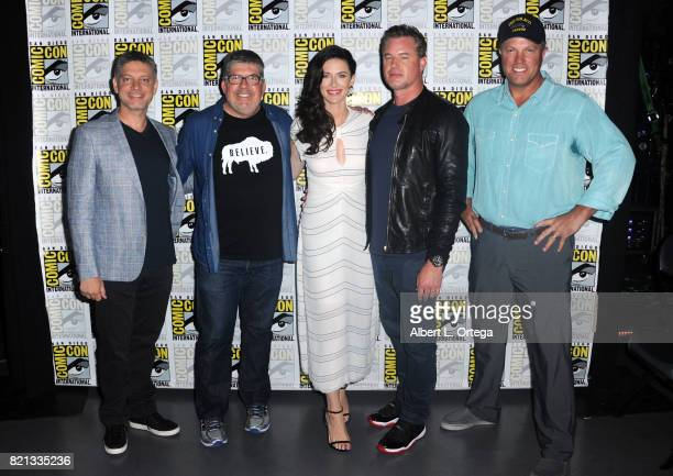 Writer/producer Steven Kane moderator Jim Halterman actors Bridget Regan Eric Dane and Adam Baldwin at TNT's 'The Last Ship' with Eric Dane panel and...
