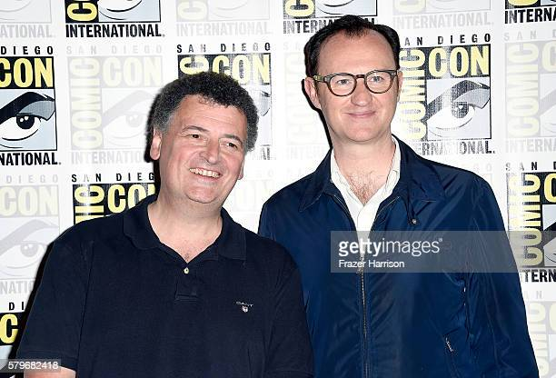 Writer/producer Steven Moffat and actor/writer/producer Mark Gatiss attend the press call for 'Sherlock' during ComicCon International 2016 at Hilton...