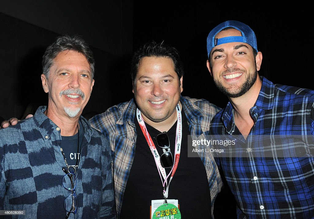 Writer/producer Tim Kring, actors Greg Grunberg and Zachary Levi pose at the 'Heroes Reborn' exclusive extended trailer and panel during Comic-Con International 2015 at the San Diego Convention Center on July 12, 2015 in San Diego, California.