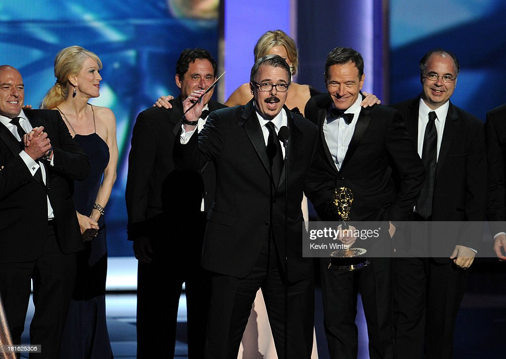 Writer/producer Vince Gilligan accepts the award for 'Breaking Bad' winner for Best Drama Series onstage during the 65th Annual Primetime Emmy Awards...