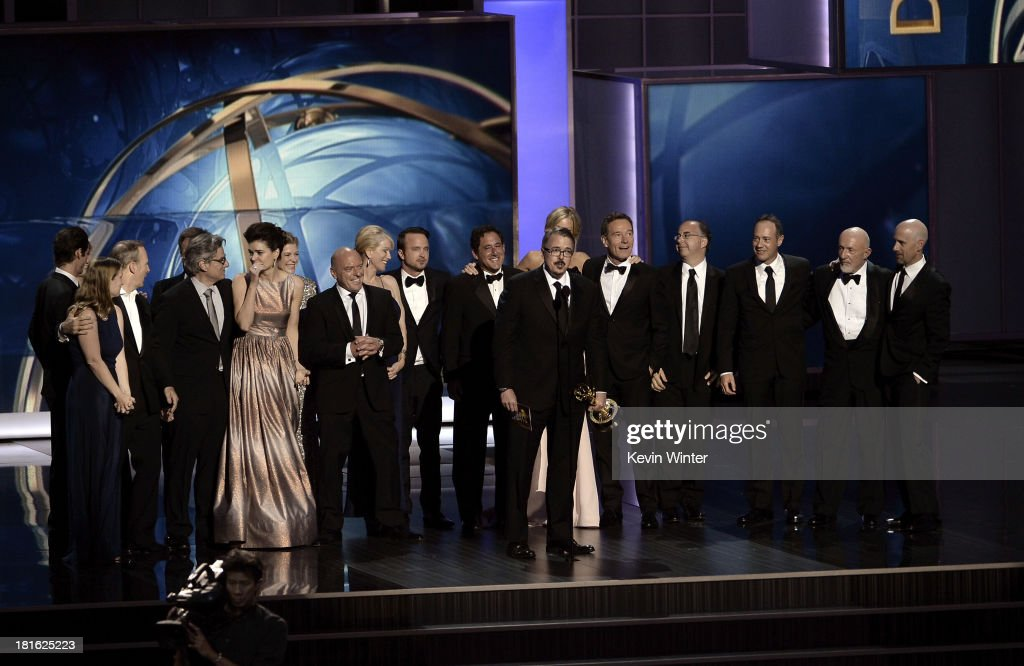 Writer/producer Vince Gilligan accepts the award for 'Breaking Bad' winner of Best Drama Series onstage during the 65th Annual Primetime Emmy Awards...