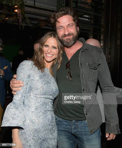 "Writer/producer/actor Andrea Savage and actor Gerard Butler celebrate the launch of truTV's new scripted comedy ""I'm Sorry"" at Catch LA on June 13..."