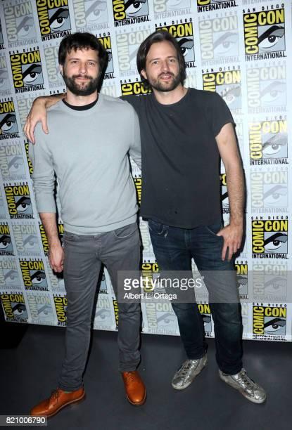 Writer/producer/directors Ross Duffer and Matt Duffer at ComicCon International 2017 Netflix's 'Stranger Things' panel at San Diego Convention Center...