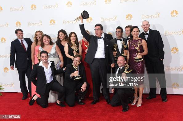 Writer/Producer/Host Stephen Colbert and the writing staff winners of the for Outstanding Variety Series Award for The Colbert Report pose in the...