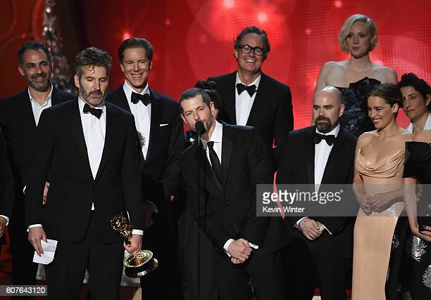 Writer/producers David Benioff and DB Weiss with cast and production crew accept Outstanding Drama Series for 'Game of Thrones' onstage during the...
