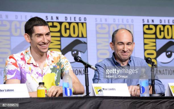 Writer/producers Max Landis and Robert C Cooper speak at Dirk Gently's Holistic Detective Agency BBC America Official Panel during ComicCon...