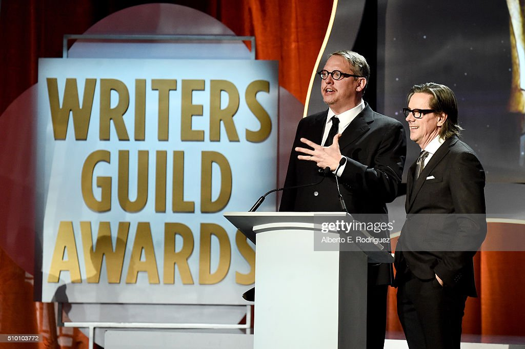 Writers Adam McKay and Charles Randolph accept the Adapted Screenplay award for 'The Big Short' onstage during the 2016 Writers Guild Awards at the...