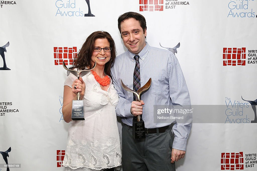 Writers Amanda Beall and Jeff Beldner pose backstage at the 65th annual Writers Guild East Coast Awards at B.B. King Blues Club & Grill on February 17, 2013 in New York City.