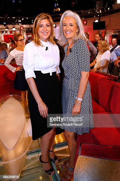 Writers Amanda Sthers and Tatiana de Rosnay attend the 'Vivement Dimanche' French TV Show Held at Pavillon Gabriel on September 2 2015 in Paris France
