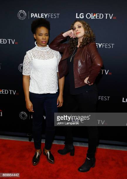 Writers Amber Ruffin and Jenny Hagel attend PaleyFest NY 2017 'Late Night With Seth Meyers' at The Paley Center for Media on October 10 2017 in New...