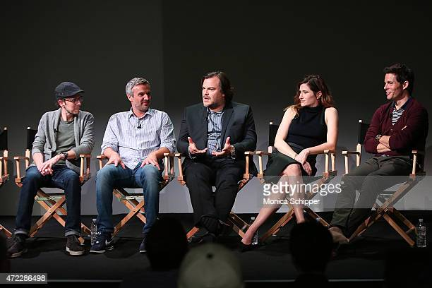 Writers and directors Jarrad Paul and Andrew Mogel and actors Jack Black Kathryn Hahn and James Marsden attend Apple Store Soho Meet The Actors...