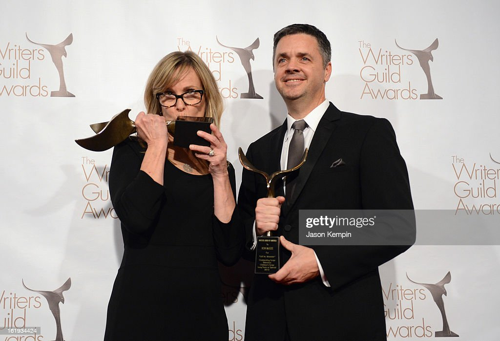 Writers Annie DeYoung and Ron Mcgee, winners of the Writers Guild Award for Children's - Long Form or Special, pose in the press room during the 2013 WGAw Writers Guild Awards at JW Marriott Los Angeles at L.A. LIVE on February 17, 2013 in Los Angeles, California.