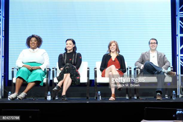Writers Ashley Nicole Black Christine Nangle Hallie Haglund Jason Reich speak onstage at the Has Politics Made LateNight Great Again panel during the...