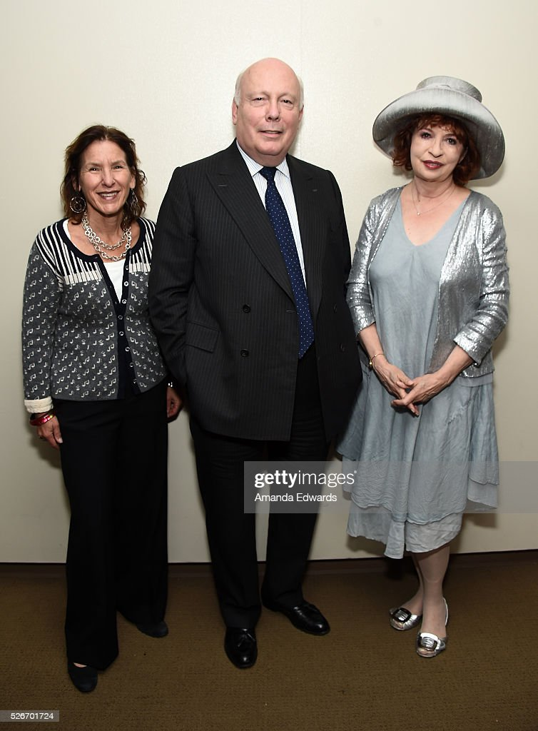 Writers Bloc Founder Andrea Grossman and writers Julian Fellowes and Patt Morrison attend the LACMA and Writers Bloc presentation of Julian Fellowes In Conversation with Patt Morrison at the Bing Theatre at LACMA on April 30, 2016 in Los Angeles, California.