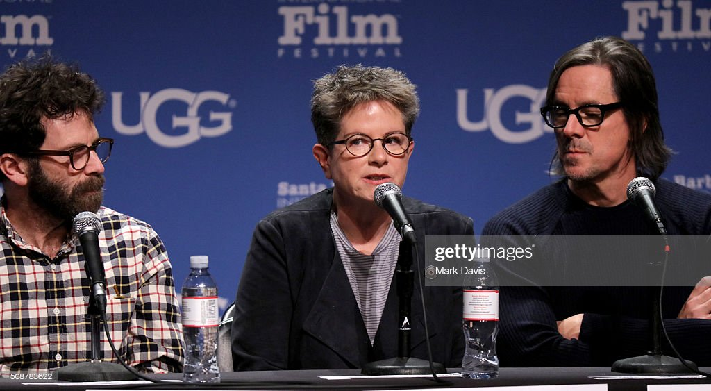 Writers <a gi-track='captionPersonalityLinkClicked' href=/galleries/search?phrase=Charlie+Kaufman&family=editorial&specificpeople=217701 ng-click='$event.stopPropagation()'>Charlie Kaufman</a>, Phillis Nagy, and Charles Rudolph speak at the Writer's Panel at the Lobero, at the 31th Santa Barbara International Film Festival on February 6, 2016 in Santa Barbara, California.
