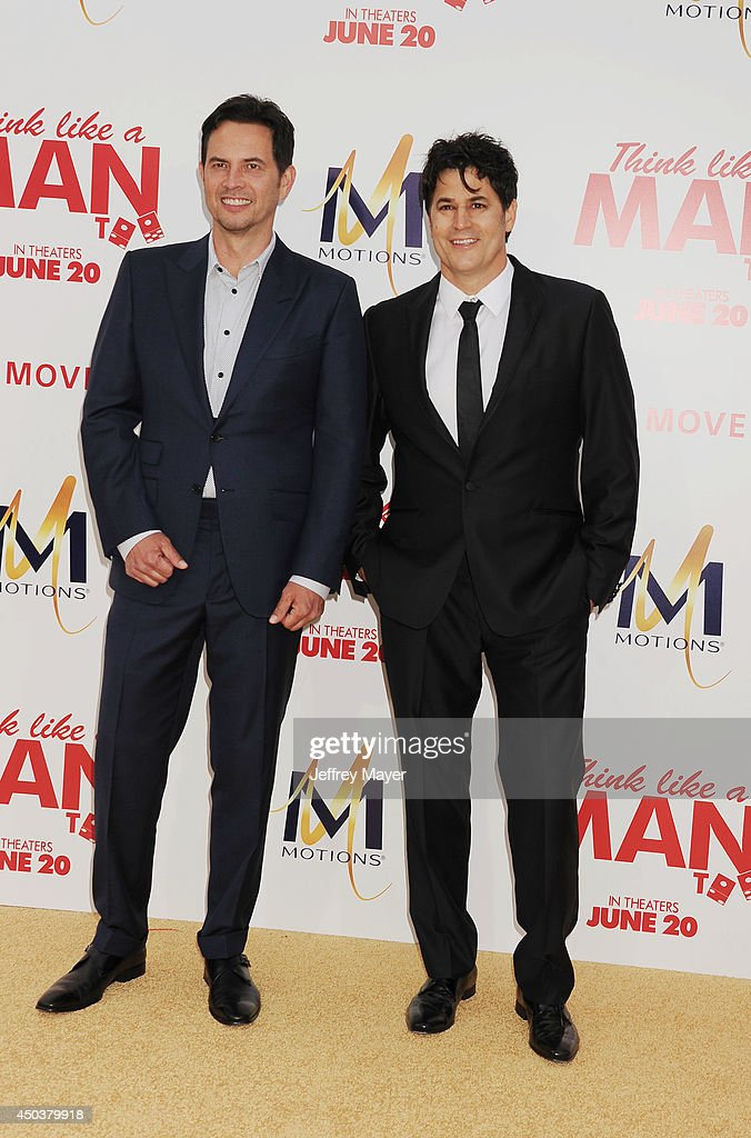 Writers David A. Newman (L) and Keith Merryman attend the Los Angeles Premiere of 'Think Like A Man Too' at TCL Chinese Theatre on June 9, 2014 in Hollywood, California.