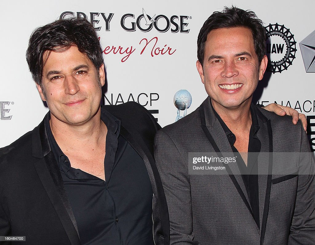 Writers David A. Newman (L) and Keith Merryman attend the NAACP Image Awards Pre-Gala at Vibiana on January 31, 2013 in Los Angeles, California.
