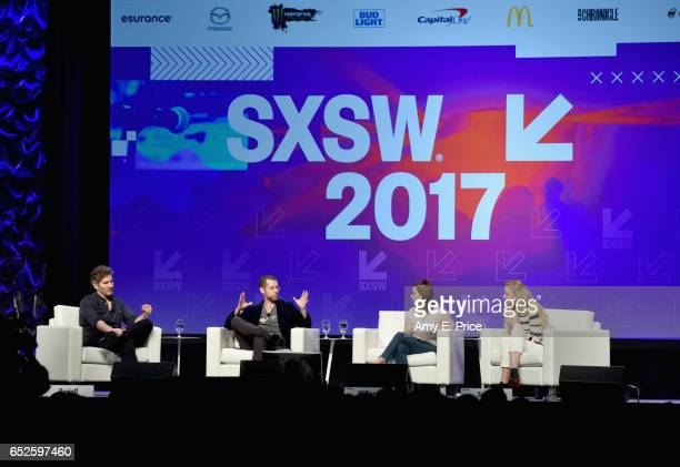 Writers David Benioff DB Weiss actors Maisie Williams and Sophie Turner speak onstage at 'Featured Session Game of Thrones' during 2017 SXSW...