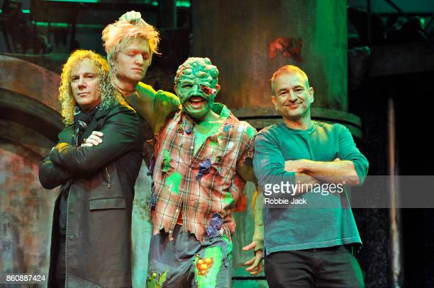 Writers David Bryan and Joe Di Pietro with Mark Anderson as Toxie at the Arts Theatre for the production The Toxic Avenger on October 2 2017 in...