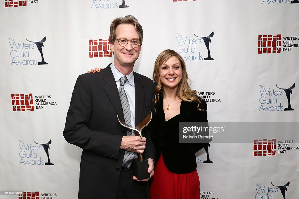 Writers David Koepp and Lucy Alibar pose backstage at the 65th annual Writers Guild East Coast Awards at B.B. King Blues Club & Grill on February 17, 2013 in New York City.
