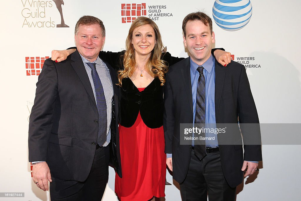 Writers David Magee, Lucy Alibar, and <a gi-track='captionPersonalityLinkClicked' href=/galleries/search?phrase=Mike+Birbiglia&family=editorial&specificpeople=4111852 ng-click='$event.stopPropagation()'>Mike Birbiglia</a> attend the 65th annual Writers Guild East Coast Awards at B.B. King Blues Club & Grill on February 17, 2013 in New York City.