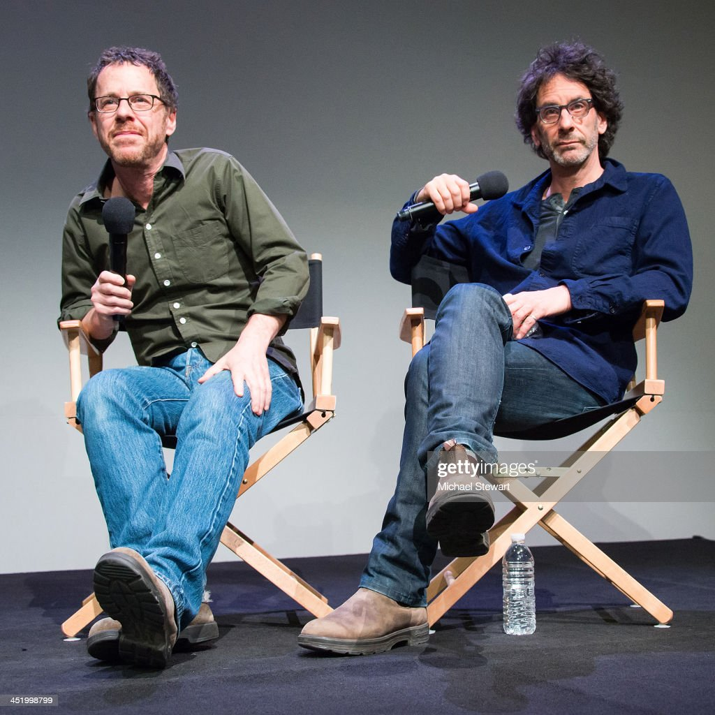 Writers / Directors <a gi-track='captionPersonalityLinkClicked' href=/galleries/search?phrase=Ethan+Coen&family=editorial&specificpeople=1130888 ng-click='$event.stopPropagation()'>Ethan Coen</a> (L) and <a gi-track='captionPersonalityLinkClicked' href=/galleries/search?phrase=Joel+Coen&family=editorial&specificpeople=4292064 ng-click='$event.stopPropagation()'>Joel Coen</a> attend Meet the Filmmakers at the Apple Store Soho on November 25, 2013 in New York City.
