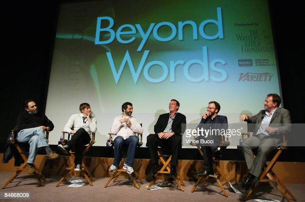 Writers Eric Roth Dustin Lance Black moderator Judd Apatow Jonathan Nolan Tom McCarthy and Simon Beaufoy attend 'Beyond Words' a panel discussion...
