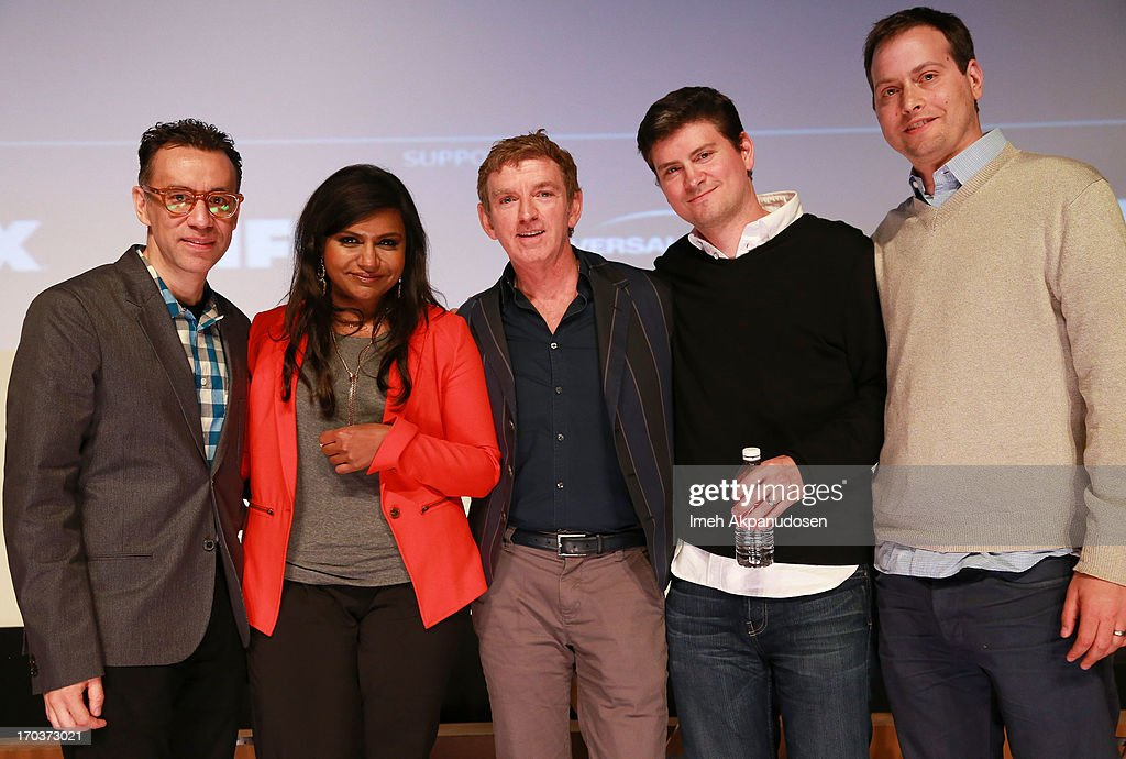 Writers <a gi-track='captionPersonalityLinkClicked' href=/galleries/search?phrase=Fred+Armisen&family=editorial&specificpeople=221426 ng-click='$event.stopPropagation()'>Fred Armisen</a>, <a gi-track='captionPersonalityLinkClicked' href=/galleries/search?phrase=Mindy+Kaling&family=editorial&specificpeople=743884 ng-click='$event.stopPropagation()'>Mindy Kaling</a>, <a gi-track='captionPersonalityLinkClicked' href=/galleries/search?phrase=Michael+Patrick+King&family=editorial&specificpeople=213304 ng-click='$event.stopPropagation()'>Michael Patrick King</a>, Mike Schur, and Daniel J. Goor pose onstage at Variety's A Night In The Writers' Room at Writers Guild Theater on June 11, 2013 in Beverly Hills, California.