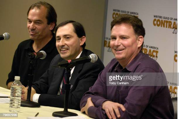Writers Guild of America West Negotiating Commitee Chair John Bowman WGAW president Patric Verrone and WGAW Executive Director and Chief Negotiator...