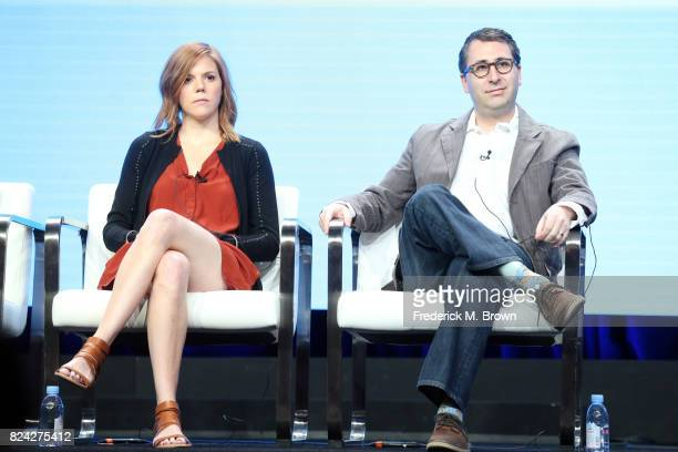 Writers Hallie Haglund Jason Reich speak onstage at the Has Politics Made LateNight Great Again panel during the CTAM portion of the 2017 Summer...