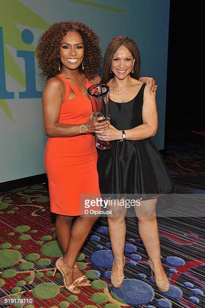 Writers Janet Mock and Melissa HarrisPerry pose with an award at PFLAG National's eighth annual Straight for Equality awards gala at Marriot Marquis...