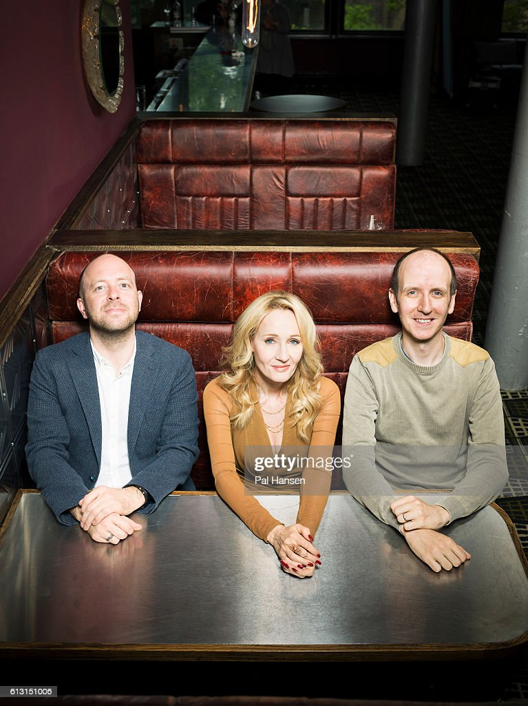 Writers JK Rowling, John Tiffany and Jack Thorne are photographed for the Observer on June 5, 2016 in London, England.