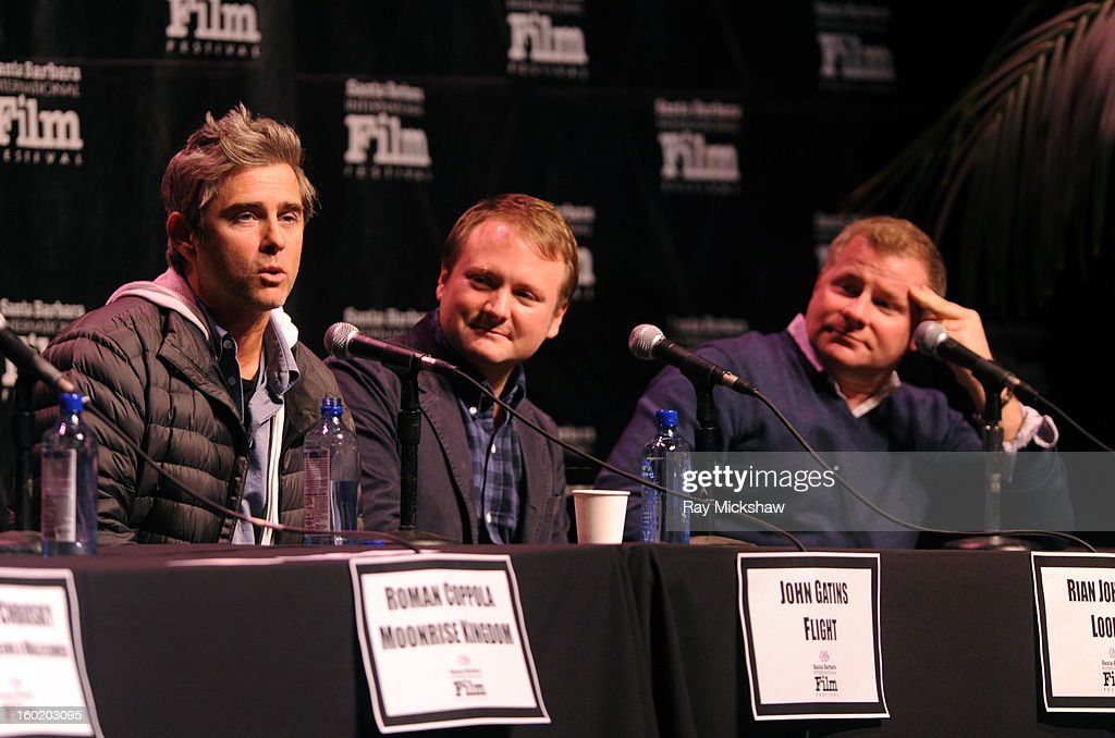 Writers <a gi-track='captionPersonalityLinkClicked' href=/galleries/search?phrase=John+Gatins&family=editorial&specificpeople=2203490 ng-click='$event.stopPropagation()'>John Gatins</a>, Rian Johnson and David Magee attend the 28th Santa Barbara International Film Festival Writers Panel at the Lobero theatre on January 26, 2013 in Santa Barbara, California.