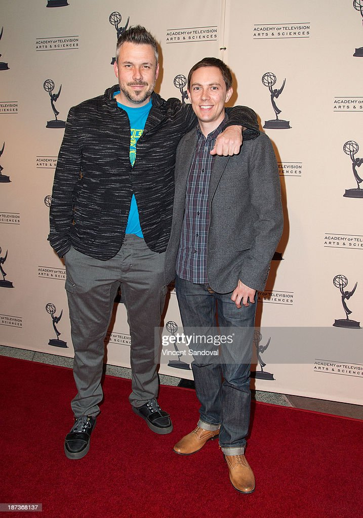 Writers Josh Stoddard (L) and Evan Endicott attend The Television Academy presents Amazon Studios at The Television Academy at Leonard H. Goldenson Theatre on November 7, 2013 in North Hollywood, California.