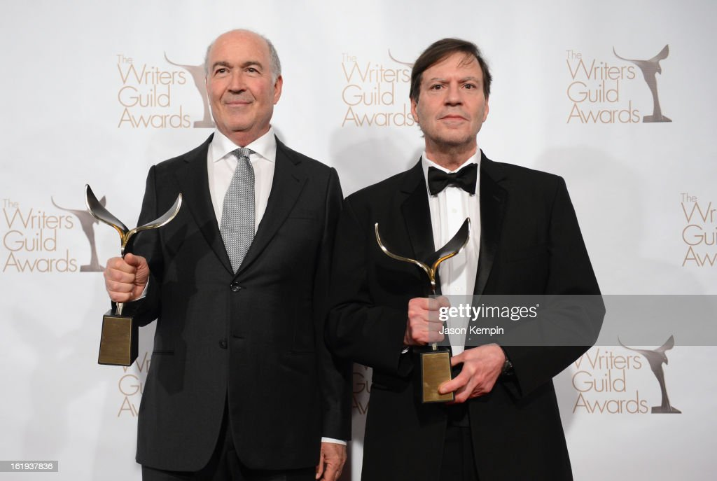 Writers Joshua Brand and John Falsey pose with The Paddy Chayefsky Laurel Award for Television Writing Achievement in the press room during the 2013 WGAw Writers Guild Awards at JW Marriott Los Angeles at L.A. LIVE on February 17, 2013 in Los Angeles, California.