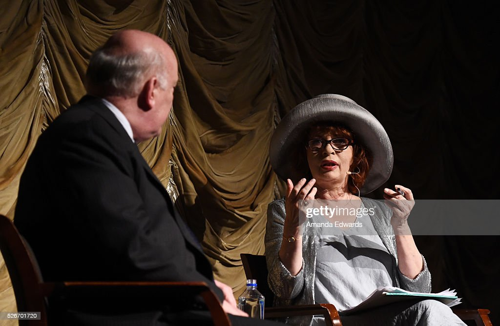 Writers Julian Fellowes (L) and Patt Morrison attend the LACMA and Writers Bloc presentation of Julian Fellowes In Conversation with Patt Morrison at the Bing Theatre at LACMA on April 30, 2016 in Los Angeles, California.