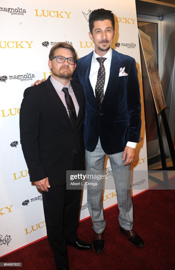 Writers Logan Sparks and Drago Sumonja arrive for the Premiere Of Magnolia Pictures' 'Lucky' held at Linwood Dunn Theater on September 26, 2017 in Los Angeles, California.
