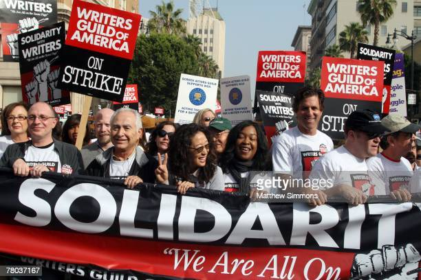 Writers march on Hollywood Boulevard in support of the Writers Guild of America strike on November 20 2007 in Hollywood California
