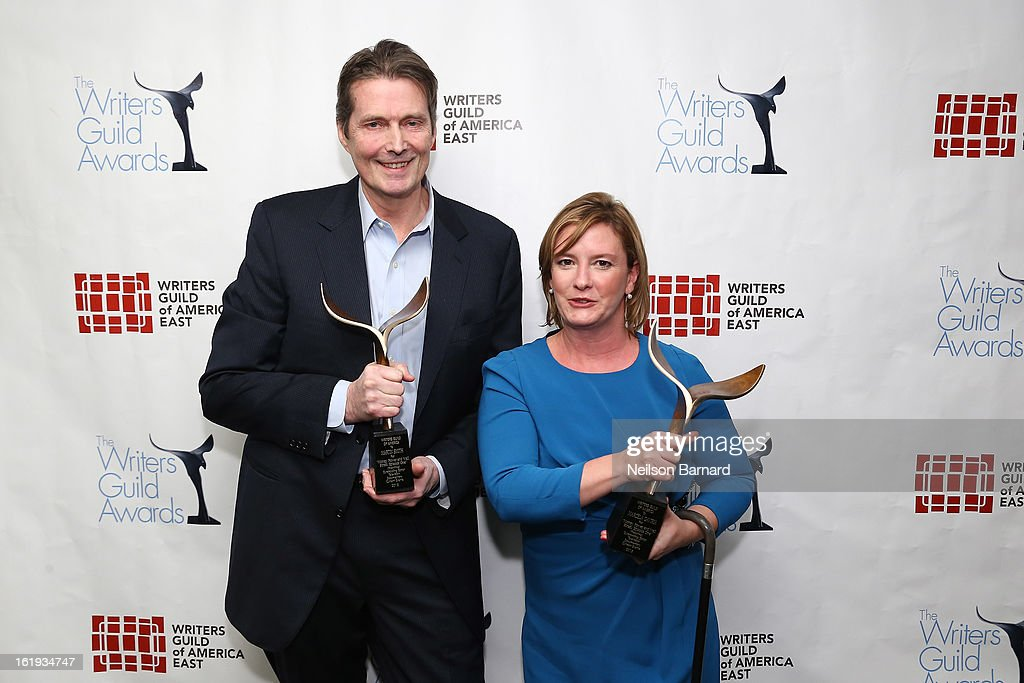 Writers Martin Smith and Marcela Gaviria pose backstage at the 65th annual Writers Guild East Coast Awards at B.B. King Blues Club & Grill on February 17, 2013 in New York City.