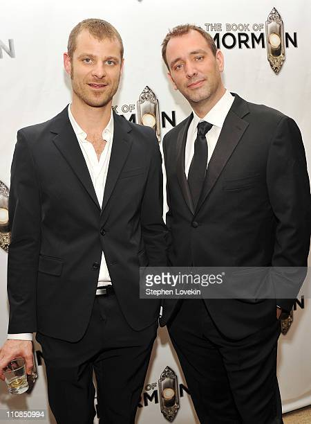 Writers Matt Stone and Trey Parker attend the after party for the opening night of 'the Book of Mormon' on Broadway on March 24 2011 in New York City