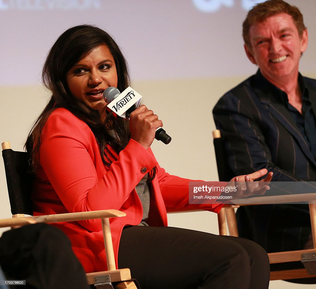 Writers <a gi-track='captionPersonalityLinkClicked' href=/galleries/search?phrase=Mindy+Kaling&family=editorial&specificpeople=743884 ng-click='$event.stopPropagation()'>Mindy Kaling</a> (L) and <a gi-track='captionPersonalityLinkClicked' href=/galleries/search?phrase=Michael+Patrick+King&family=editorial&specificpeople=213304 ng-click='$event.stopPropagation()'>Michael Patrick King</a> speak onstage during Variety's A Night In The Writers' Room at Writers Guild Theater on June 11, 2013 in Beverly Hills, California.