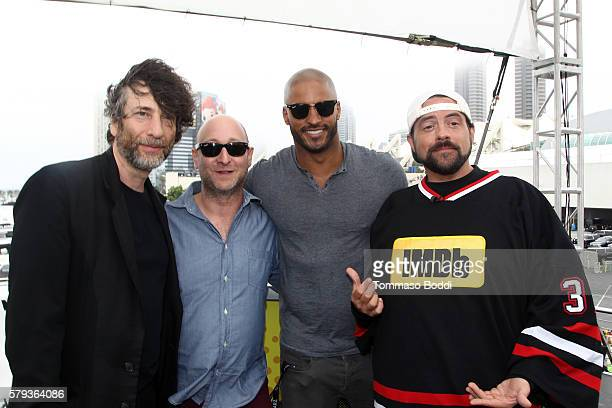 Writers Neil Gaiman Michael Green actor Ricky Whittle and host Kevin Smith attend the IMDb Yacht at San Diego ComicCon 2016 Day Three at The IMDb...